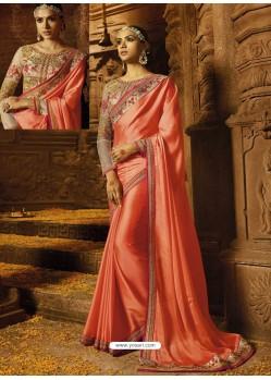 Light Orange Rangoli Silk Embroidered Border Work Designer Wedding Saree