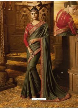 Mehendi Barfi Silk Embroidered Border Work Designer Wedding Saree