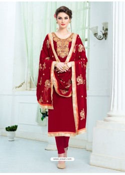 Maroon Pure Uppada Silk Embroidered Designer Straight Suit