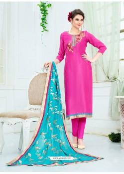 Rani Pure Uppada Silk Embroidered Designer Straight Suit
