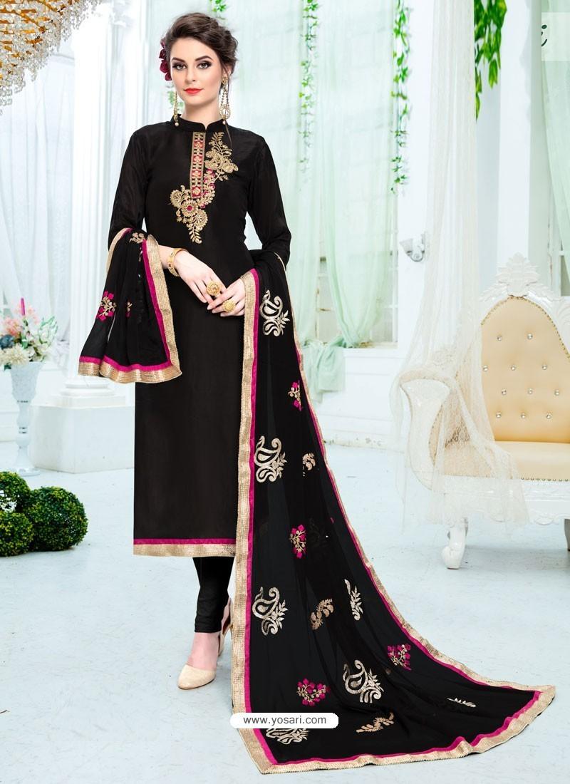 Black Pure Uppada Silk Embroidered Designer Straight Suit