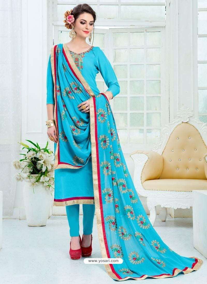 Turquoise Pure Uppada Silk Embroidered Designer Straight Suit