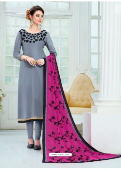 Grey Pure Uppada Silk Embroidered Designer Straight Suit