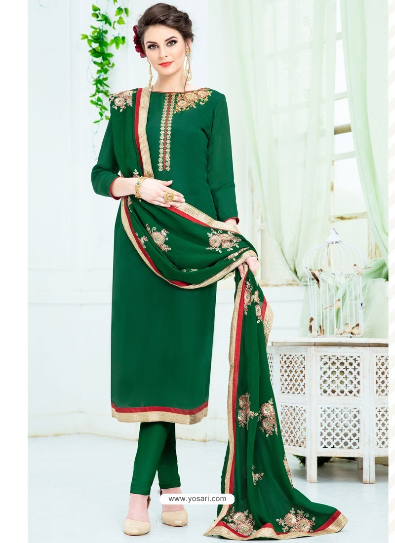 Dark Green Pure Uppada Silk Embroidered Designer Straight Suit
