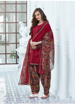 Maroon Cotton Blend Printed Casual Patiala Salwar Suit