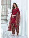 Maroon Cotton Blend Printed Casual Patiala Salwar Suit