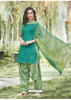 Jade Green Cotton Blend Printed Casual Patiala Salwar Suit