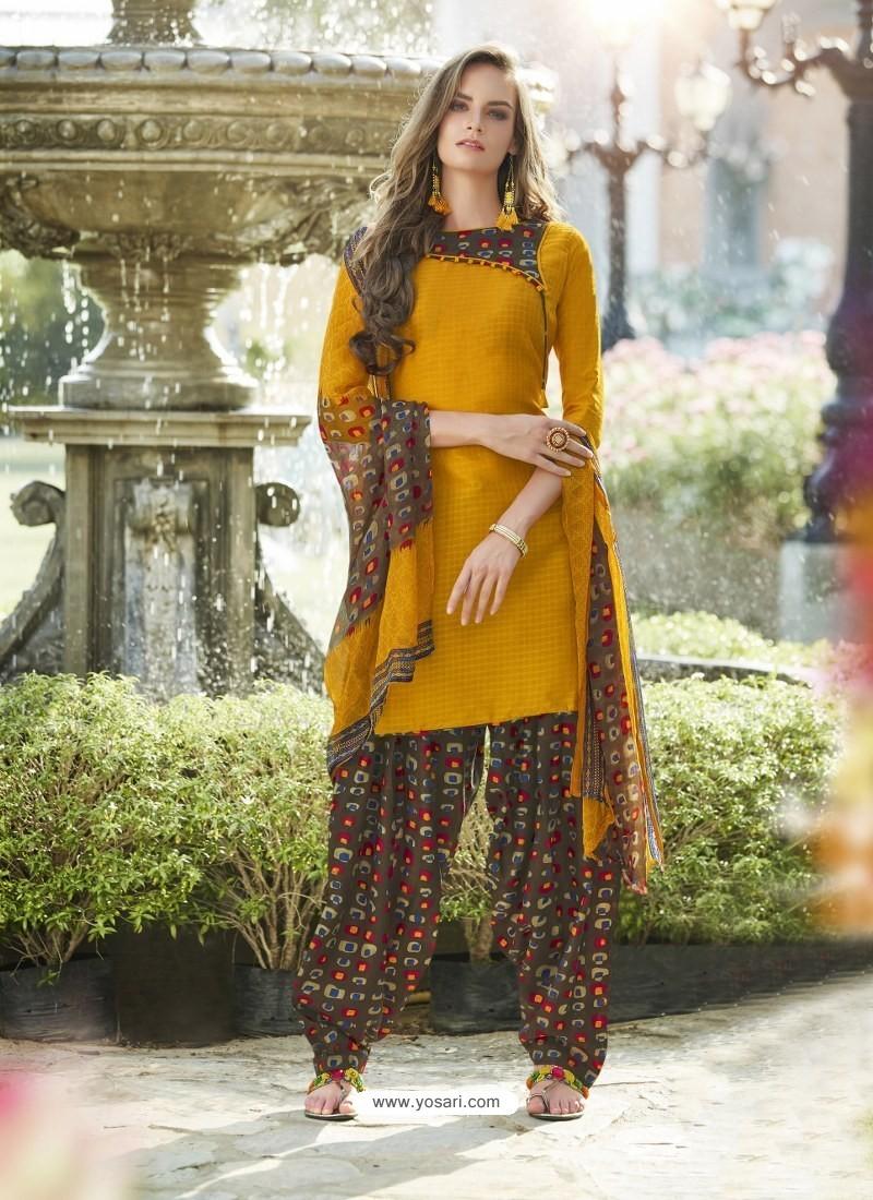 Mustard Cotton Blend Printed Casual Patiala Salwar Suit