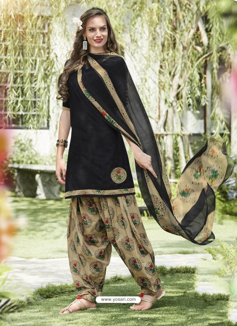 Black Cotton Blend Printed Casual Patiala Salwar Suit