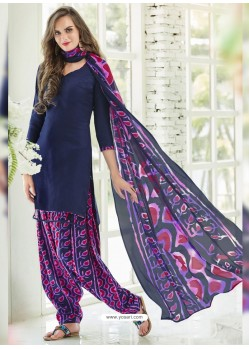 Navy Blue Cotton Blend Printed Casual Patiala Salwar Suit