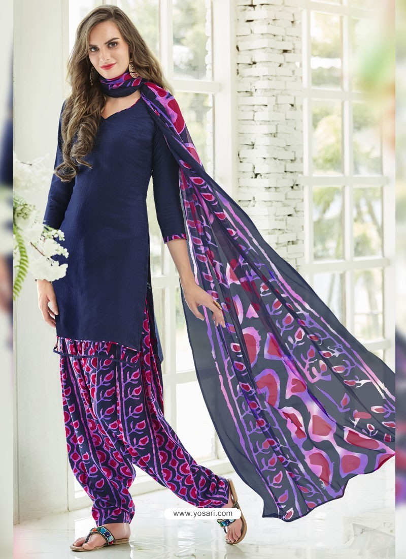 Navy Blue Cotton Blend Printed Casual Patiala Salwar Suit