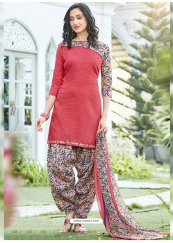 Dark Peach Cotton Blend Printed Casual Patiala Salwar Suit