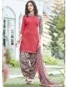 Dark Peach Cotton Blend Printed Casual Patiala Salwar Suit
