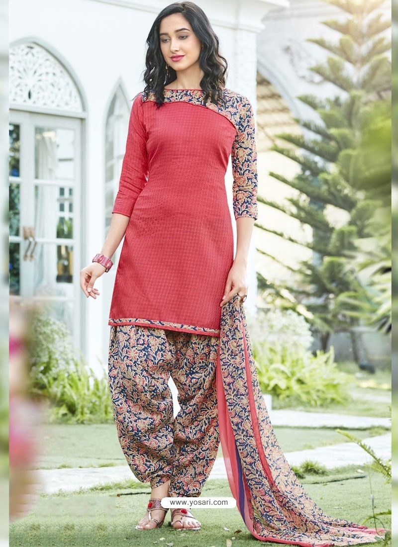 90a5eb2c66 Buy Dark Peach Cotton Blend Printed Casual Patiala Salwar Suit ...