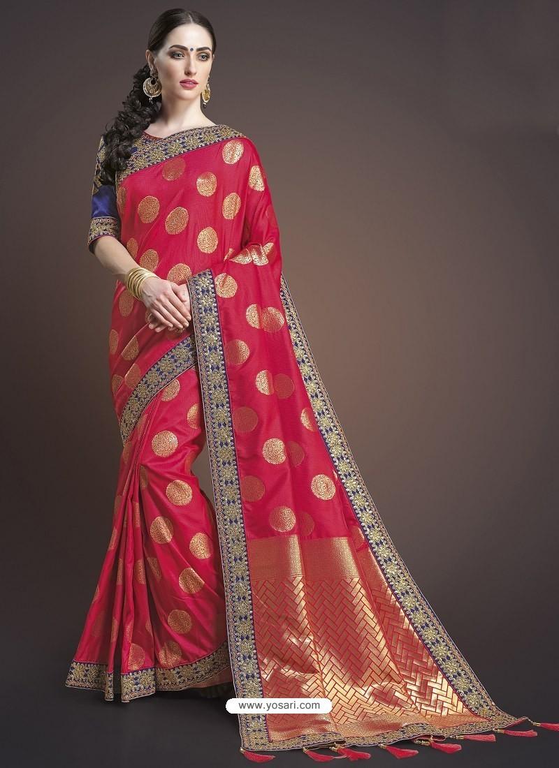 Red Silk Designer Embroidered Saree
