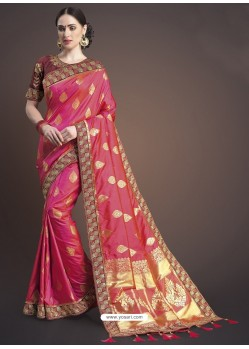Crimson Silk Designer Embroidered Saree