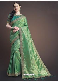 Forest Green Silk Designer Embroidered Saree