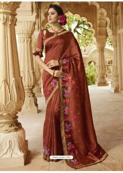 Rusty Embroidered Designer Silk Saree