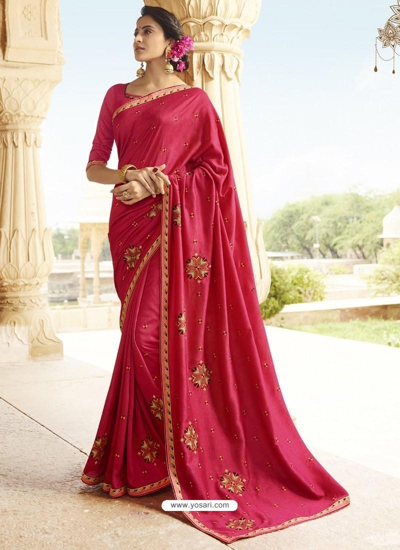 Fuchsia Embroidered Designer Silk Saree