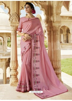 Light Pink Embroidered Designer Silk Saree