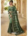 Mehendi Embroidered Designer Silk Saree