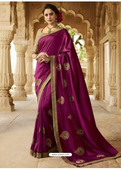 Purple Embroidered Designer Silk Saree