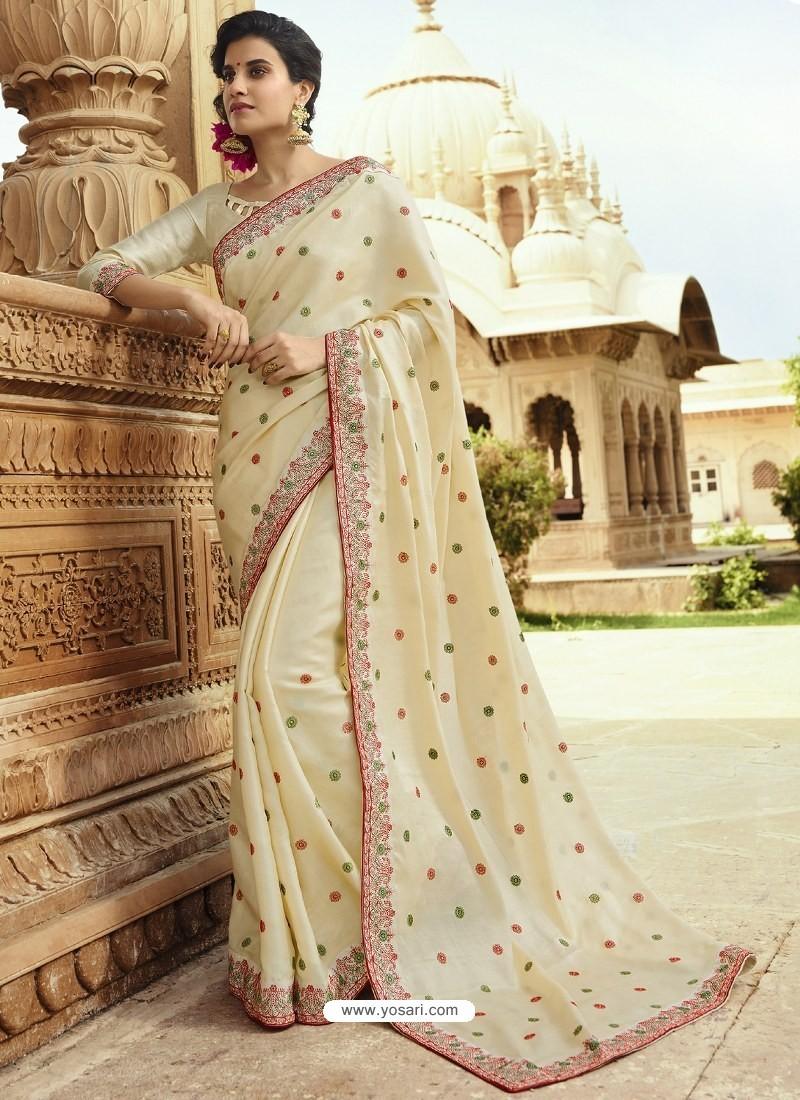 Cream Embroidered Designer Silk Saree