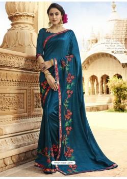Glorious Teal Blue Embroidered Designer Silk Saree