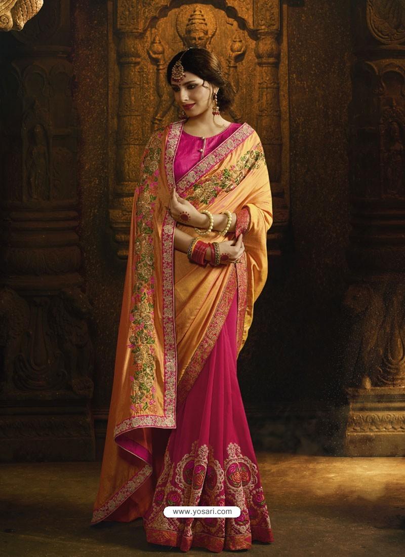 Orange And Rani Pure Silk Heavy Embroidered Designer Saree