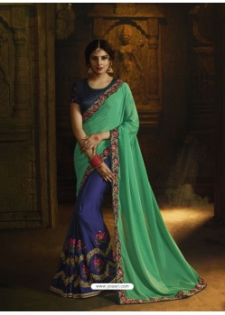 Jade Green And Navy Silk Heavy Embroidered Designer Saree