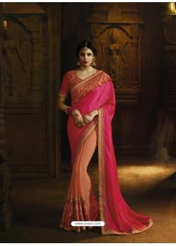 Rani And Light Orange Pure Silk Heavy Embroidered Designer Saree