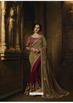 Maroon And Mehendi Pure Silk Heavy Embroidered Designer Saree