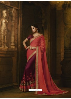 Light Red And Deep Wine Pure Silk Heavy Embroidered Designer Saree