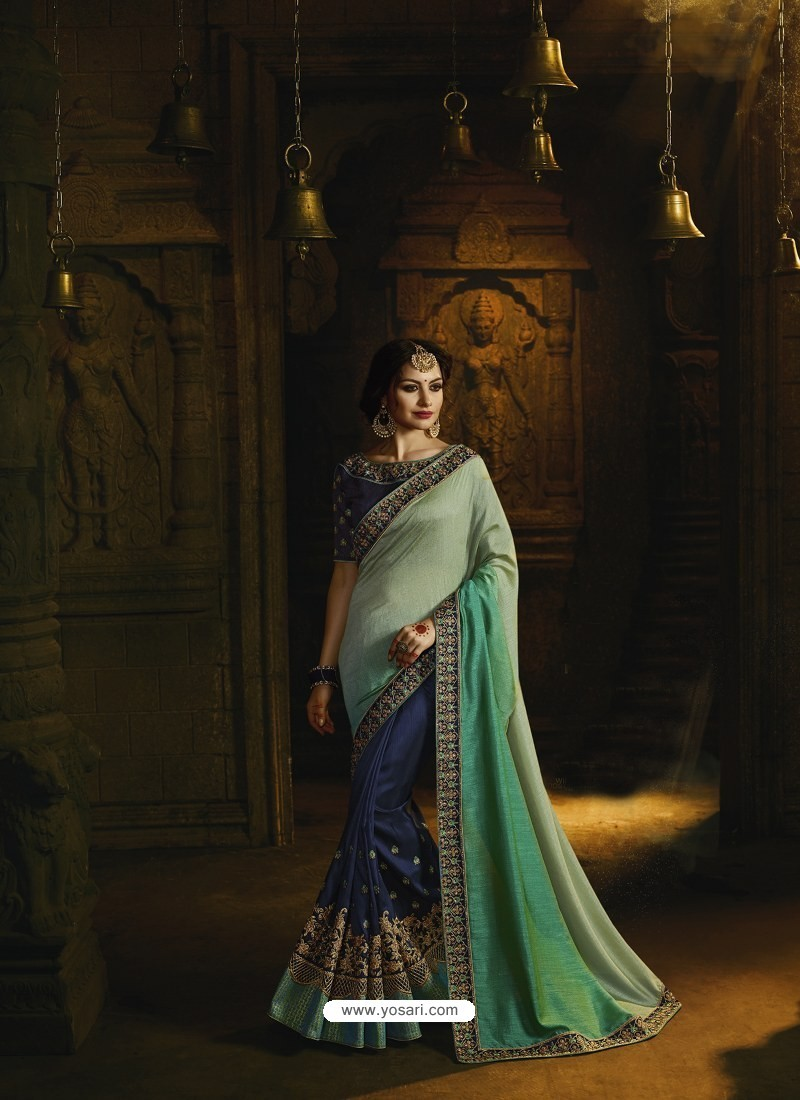 Navy Blue And Sky Blue Pure Silk Heavy Embroidered Designer Saree