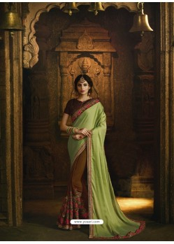 Green And Brown Pure Silk Heavy Embroidered Designer Saree