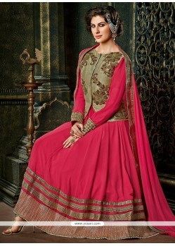 Flashy Hot Pink Georgette Anarkali Suit