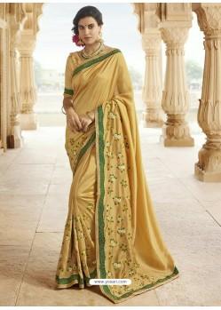 Beige Embroidered Designer Silk Saree