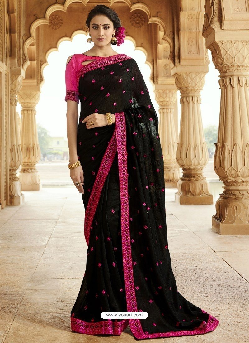 Black Embroidered Designer Silk Saree