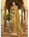 Golden Embroidered Designer Silk Saree