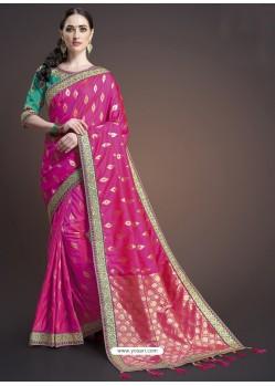 Rani Silk Designer Embroidered Saree