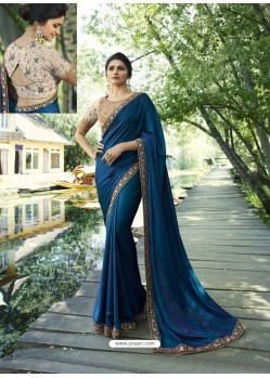 Peacock Blue Resham Embroidered Soft Silk Designer Party Wear Saree