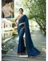 Peacock Blue Resham Embroidered Soft Silk Designer Party Wear Saree