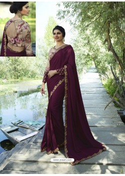 Maroon Resham Embroidered Soft Silk Designer Party Wear Saree