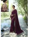 Maroon Resham Embroidered Soft Silk Designer Party Wear Saree