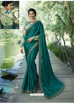 Teal Resham Embroidered Soft Silk Designer Party Wear Saree