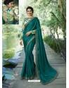 Teal Resham Embroidered Soft Silk Designer Party Wear Saree