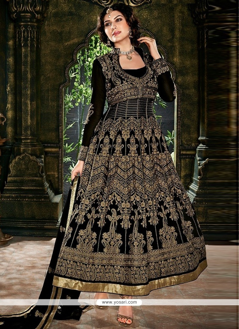Tantalizing Black Embroidery Work Anarkali Suit