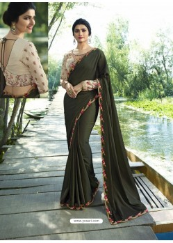 Mehendi Resham Embroidered Soft Silk Designer Party Wear Saree