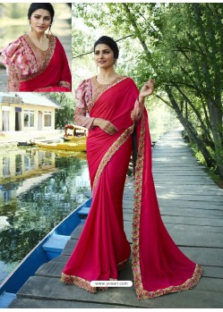 Fuchsia Resham Embroidered Soft Silk Designer Party Wear Saree