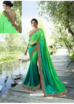 Jade Green Resham Embroidered Soft Silk Designer Party Wear Saree